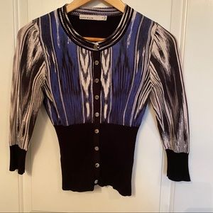 KAREN MILLEN SWEATER CARDIGAN BLACK BLUE XS 2
